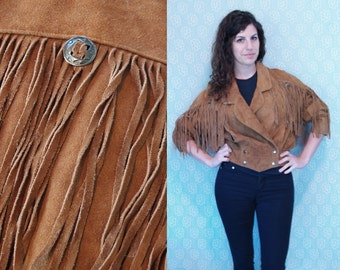 1980s Vintage Leather Jacket with Fringe & Silver Concho Detail / Fringed Brown Leather Suede Double-Breasted Feminine Coat / Small Medium M