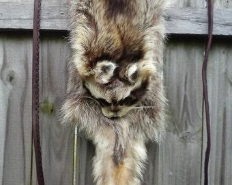 SALE - HUGE Savings - X-tra Large Raccoon Pelt Bag - Raccoon Pelt Pouch - Mountain Man - Regalia - Elusive Wolf