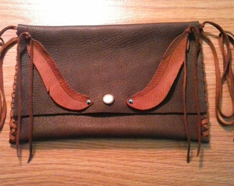 Chocolate Brown Leather Clutch with Branded Feathers - Leather Clutch Bag - Accessories Bag - Elusive Wolf