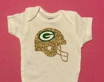 Greenbay packers glitter onesie.