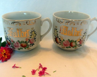 Father & Mother Mugs with Gold Painting and Floral Design