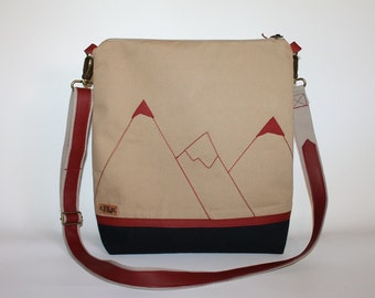 Inspired by mountain peak tote bag,Canvas messenger bag,Cross body bag,Gift for her
