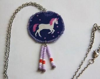 Unicorn necklace, purple unicorn accessories, purple and pink unicorn, fringe unicorn jewelry, fantasy creature attire, unicorn pendant