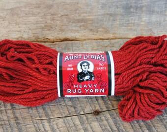 Vintage Dark Red Brick Aunt Lydia's Heavy Rug Yarn 70 Yard Rayon Cotton