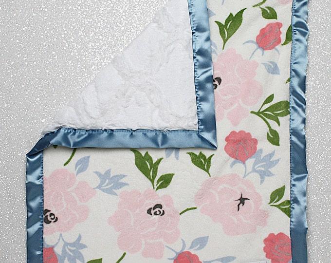 READY TO SHIP Minky, woobie, lovie, sensory blanket, soft blanket, floral minky, white lattice, plush blanket, antique blue, shabby chic