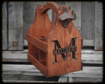 Father's day gift for Dad - Beer Tote handmade - 5th anniversary gift - Beer Carrier - Personalized Gift for him - Man cave Bar decor