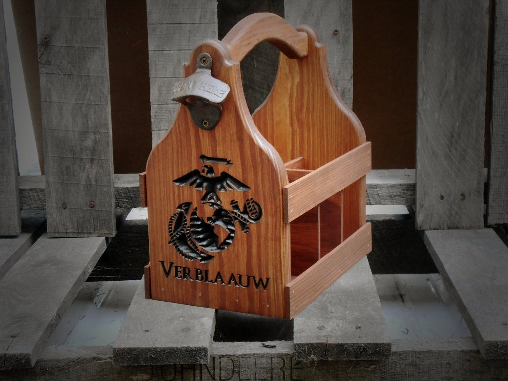 marine corps wedding usmc wedding band Marine Corp Military Beer Tote handmade Six Pack Beer Carrier Personalized Gift for him Man cave Bar decor Groomsmen gift
