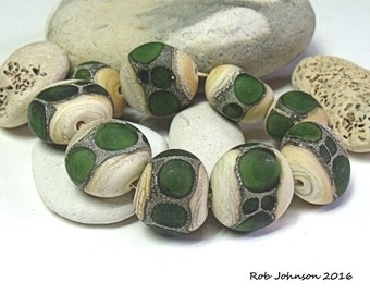 Grass Dragon Stones, Lampwork Pebble Beads, SRA, UK