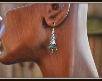 Glass Tulip Flower Earrings, Blue Green Flower Earrings, Glass Flower Earrings, Glass Flower Dangle Earrings, Tulip Flower Dangles