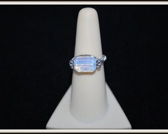 Opalite Ring, Sea Opal Ring, Opalite Finger Ring, Opalite Large Pinkie Ring, Glowing Bead Ring