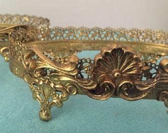 Two Gold Filigree Soapdish Holder Frames - Hollywood Regency Style
