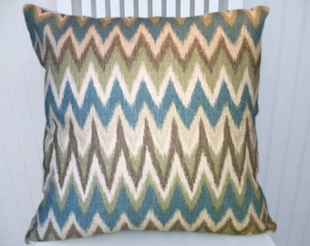 Blue Green Brown Chevron Pillow Cover, Decorative Throw Pillow Cover, Lumbar Pillow Cover