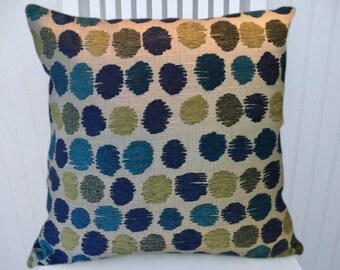 Green Blue Chenille Decorative Pillow Cover, Updated Polka Dots, Abstract Decorative Pillow Cover, Lumbar Pillow Cover, Throw Pillow Cover