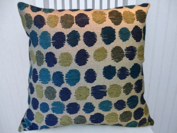 Green Blue Chenille Decorative Pillow Cover Updated Polka