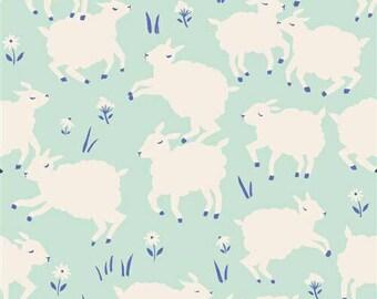 Birch Fabrics Organic  Homestead Knits Half Yard - Little Lamb Mint
