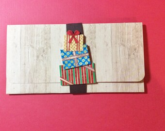 Christmas Money/Gift/Check Holder, Wood Like Cardstock, Red Inside, White to Sign, Handmade, Presents