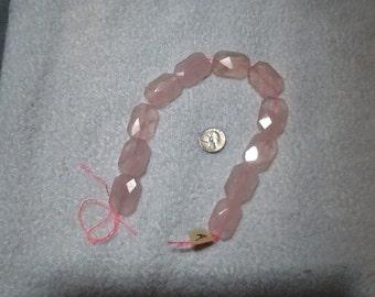 Faceted rose quartz beads