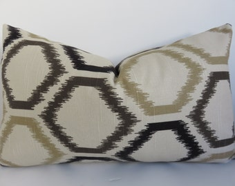 Black Brown Pillow cover - Pillow Cover - Brown Pillow Cover - Ikat Pillow Cover - 12x20 Lumbar - Pillow Cover - Pillow