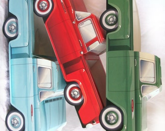 6 CLASSIC TRUCK paper Food Box-Vintage Car Box-Parties-Favors-