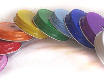 Mason Jar Lids with Straw Hole and Plastic MaSoN JaRs & LiDS---6ct--choose small or large jars-choose lid color