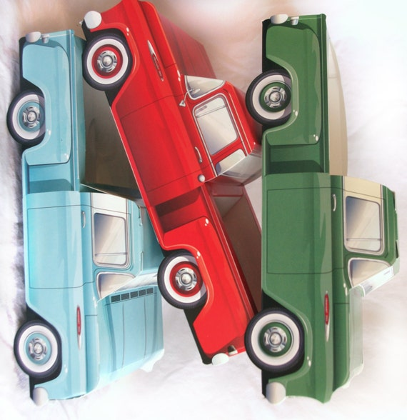 6 Classic Truck Paper Food Box Vintage Car Box Parties Favors