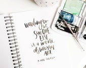 kurt cobain quote, wanting to be someone else, hand lettered, watercolor, print