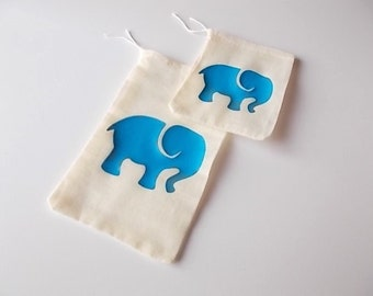 Elephant Favor Bags, Safari Gender Reveal, Baby Shower Favors, Zoo Animal Gift Bags, Set of 12 Drawstring Bags