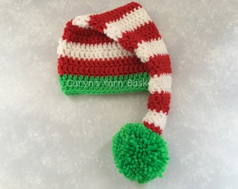 Santa Stocking Hat, Elf Hat, Christmas Hat, Newborn/0-3 Months, Photography Prop - MADE TO ORDER