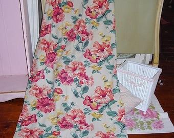 Vintage Floral Petunia Barkcloth Era Curtains Fabric 4 Panels Available Pink Aqua