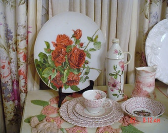 Antique Hand Painted Red Roses Mount Washington Satin Glass Charger Plate  OMG