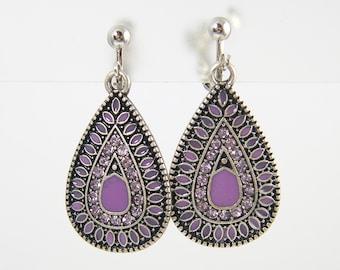 Purple Clip Earrings - Antique Silver Teardrop Enamel Rhinestone Dangle Screw Back Earrings