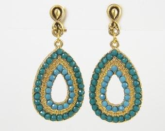 Turquoise Gold Clip Earrings - Aqua Bead Teardrop Beaded Dangle Clip on Earrings |AB3-3