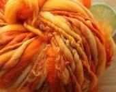 Smashed Pumpkin - Handspun Wool Curl Yarn Orange Bulky Skeins
