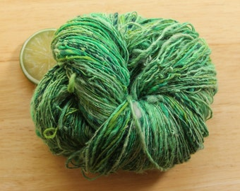 Emerald Isle - Handspun Wool Alpaca Yarn Green Sparkle