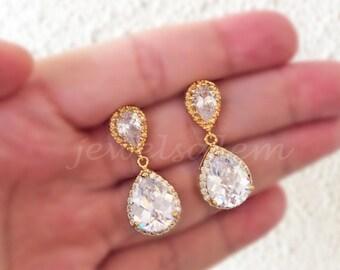 Wedding Earrings Gold Bridal Jewelry Rhinestone Crystal Dangling Teardrop Elegant Earrings for Bride Bridesmaids Gift Earrings Set C1 JW