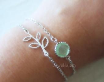 Silver Bracelet Leaf Bracelet Layered Mint Green Stone Bracelet Bridesmaid Bracelet Modern Jewelry Gift Bracelet C1