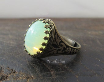 Opal Ring Chrysolite Opal Mint Green Statement Ring Fairy Ring Whimsical Elf Ring