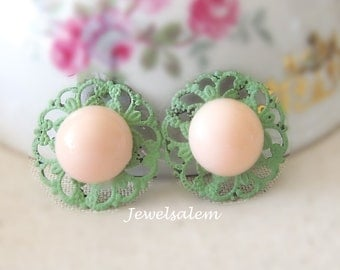 Peach Earrings Mint Green Coral Pink Stud Earrings Bridesmaids Earrings Wedding Bridal Earrings Elegant One of a Kind Personalised Earrings