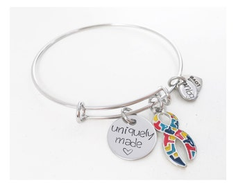 Autism Awareness Bangle Charm Bracelet