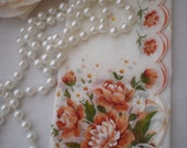 SALE...Vintage Scalloped Coral Peach Floral Handkerchief From SincerelyRaven On Etsy
