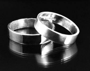 4mm Wide Band--Flat Edge Solid Sterling Silver Band--Modern Sterling Silver Wedding Band