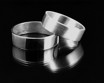 Men's silver Wedding Ring-- Wide Band--5mm wide Flat Edge 925 solid sterling silver Band Custom made in YOUR size