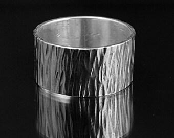 Wide Men's Silver Flat Band--Cigar Band--Flat Edge Band--10mm Straight and Narrow Band--Men's Silver Band--Men's Wedding Ring--Hammered