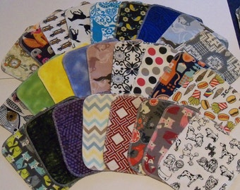 Set of 20 Adult mixed pattern print, reusable cloth napkins, baby wipes, lunch napkins, eco friendly, unpaper napkins