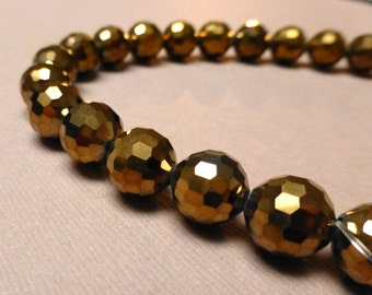 Copper Metallic Glass Beads. Round Glass Beads. Copper Crystal Beads. 10mm. 7 inch Strand.