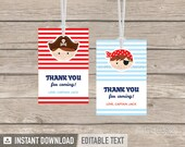 Pirate Party - Thank you Tags - Favor labels - Little Pirate - Nautical Party - INSTANT DOWNLOAD - Printable PDF with Editable Text
