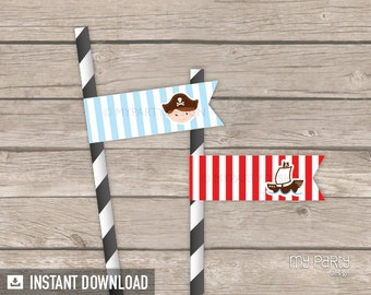 Pirate Party - Straw flags - Little Pirate - Nautical Party - INSTANT DOWNLOAD - Printable PDF