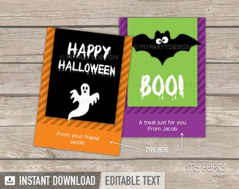 Halloween Cards - Stripes theme - Classroom Gift - INSTANT DOWNLOAD - Printable PDF with Editable Text