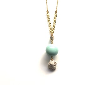 Aqua Gold Necklace - Textured Beaded Long Necklace