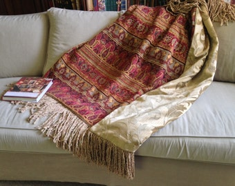 Exotic Moroccan Design, Marsala Throw Blanket, Rich Tapestry, Luxurious Decor, One of a Kind